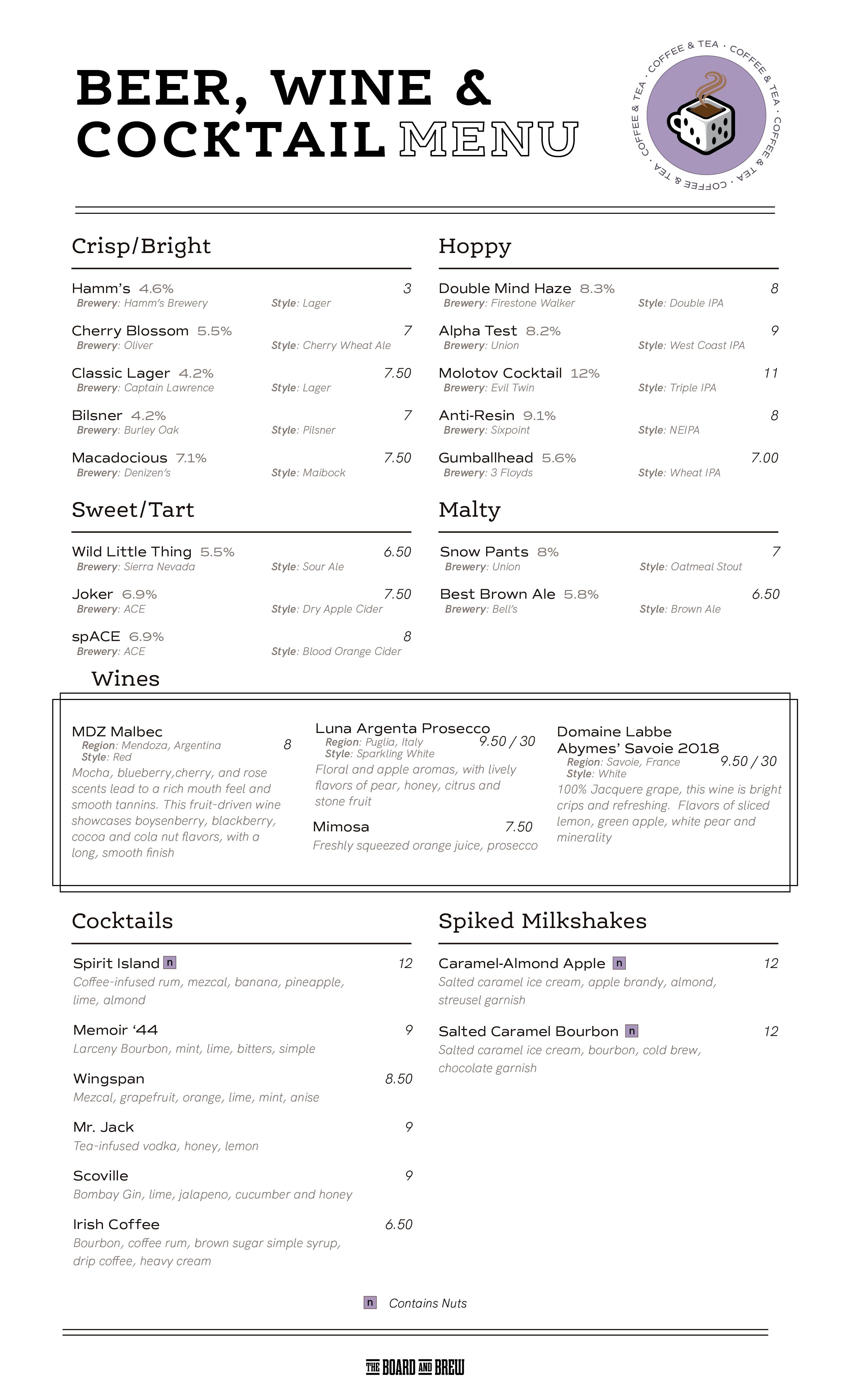 College Park Beer, Wine & Cocktail Menu